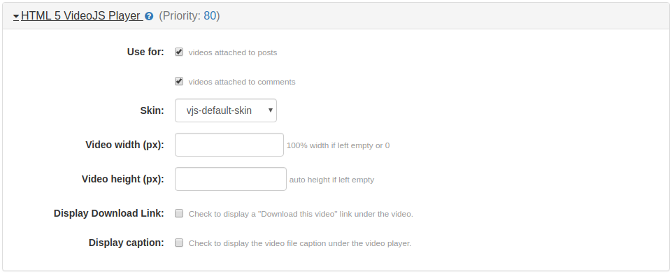 HTML 5 VideoJS Player Plugin